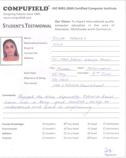 compufield computer institute,office automation student review